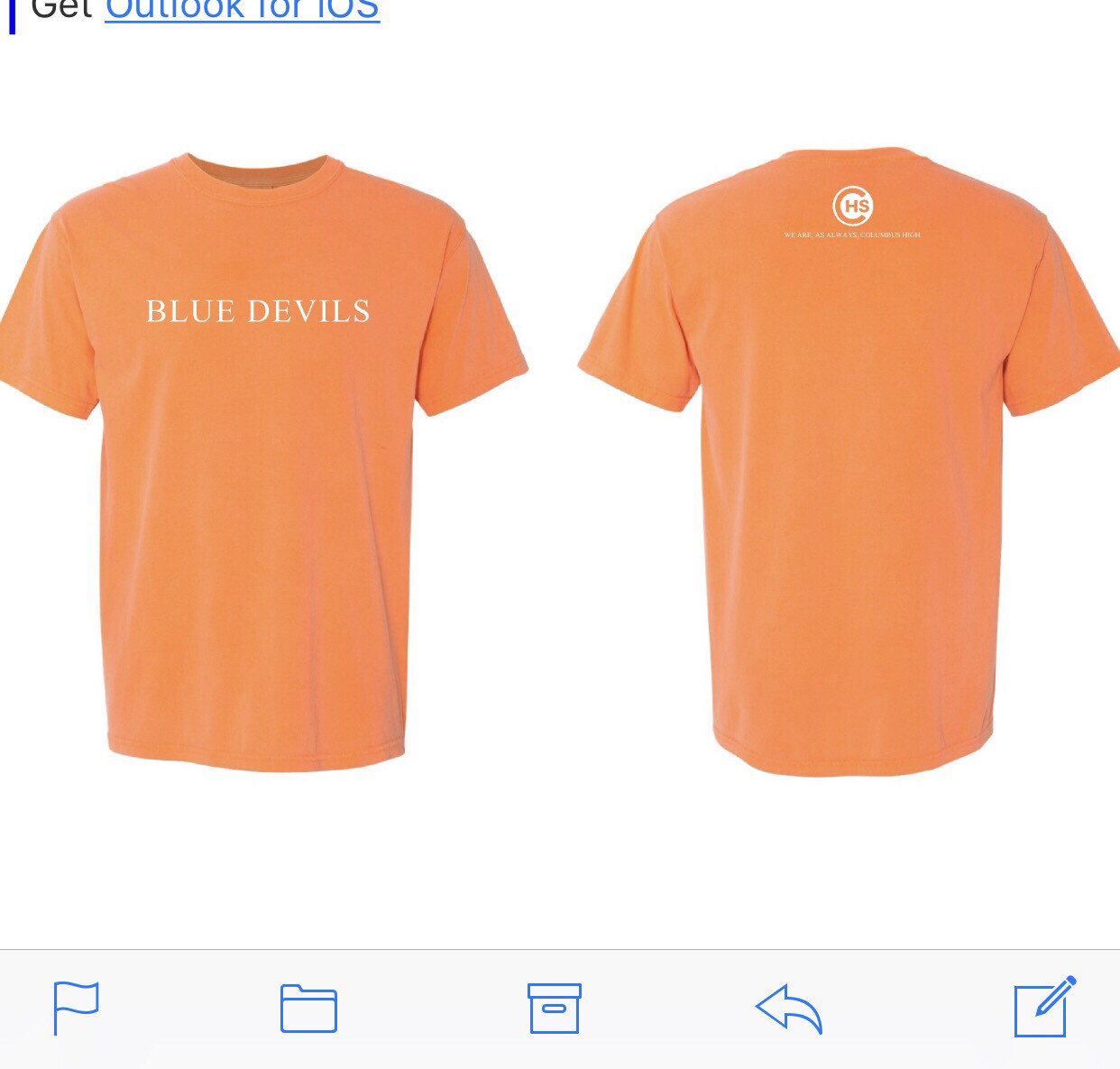 """Blue devils"" Soft Orange Short Sleeve"