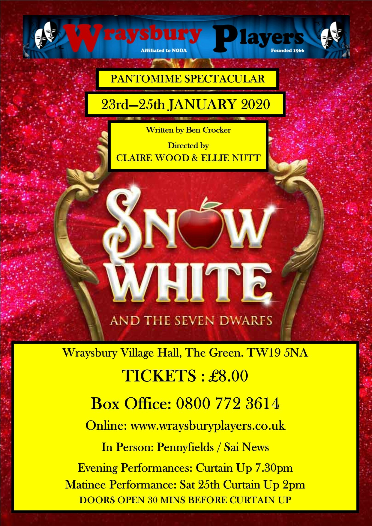 Snow White and the Seven Dwarfs  - Sat Eve 25th Jan 2020 SWASD250120