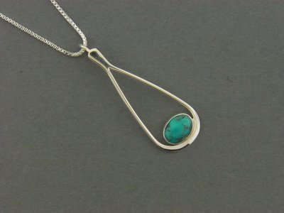 Long Teardrop w/Stone Pendant