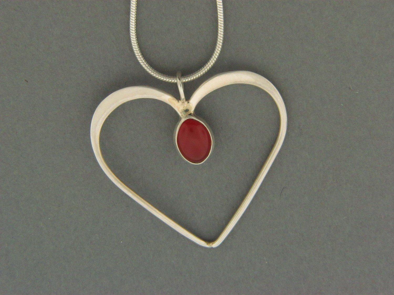 Large Heart w/Stone Pendant