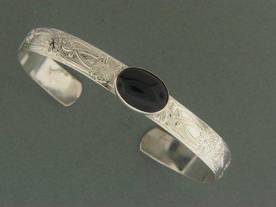 Wide Fancy w/Stone Bracelet