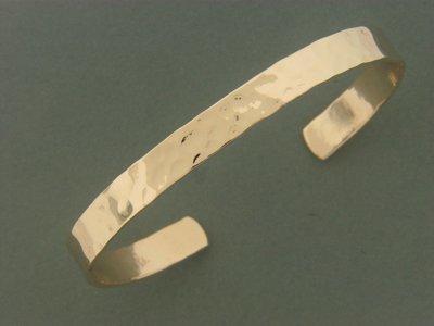 Gold Filled Flat Hammered Bracelet