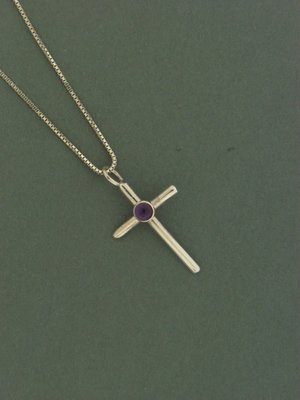 Small Cross w/   Stone Pendant