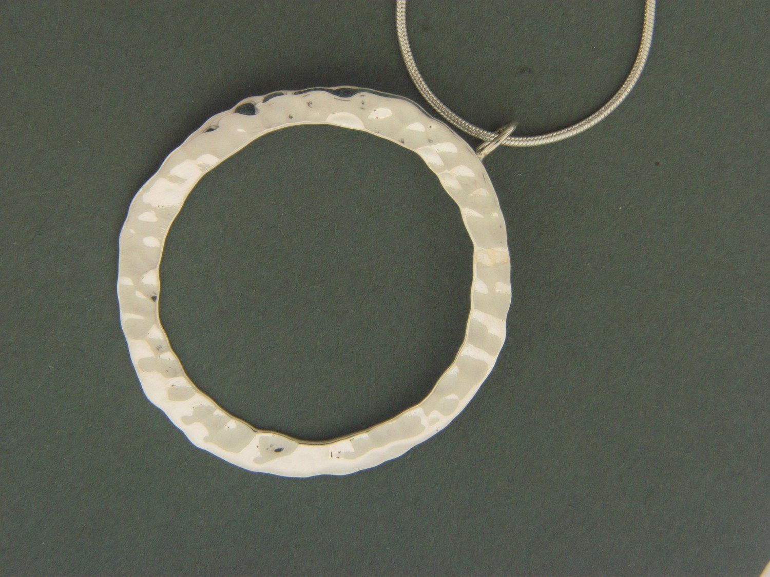 Open Hammered Circle Pendant