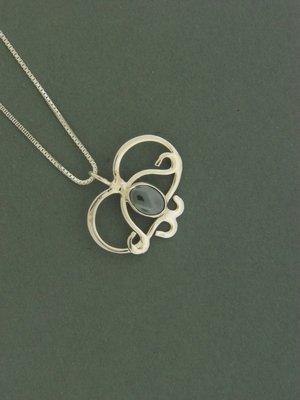 Curly Heart w/ Stone Pendant