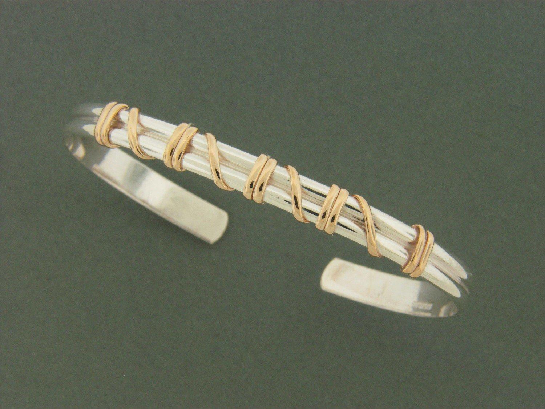 Light Double Band w/ GF Wrap Cuff Bracelet