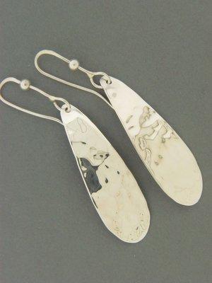 Long Plate Hammered Earrings
