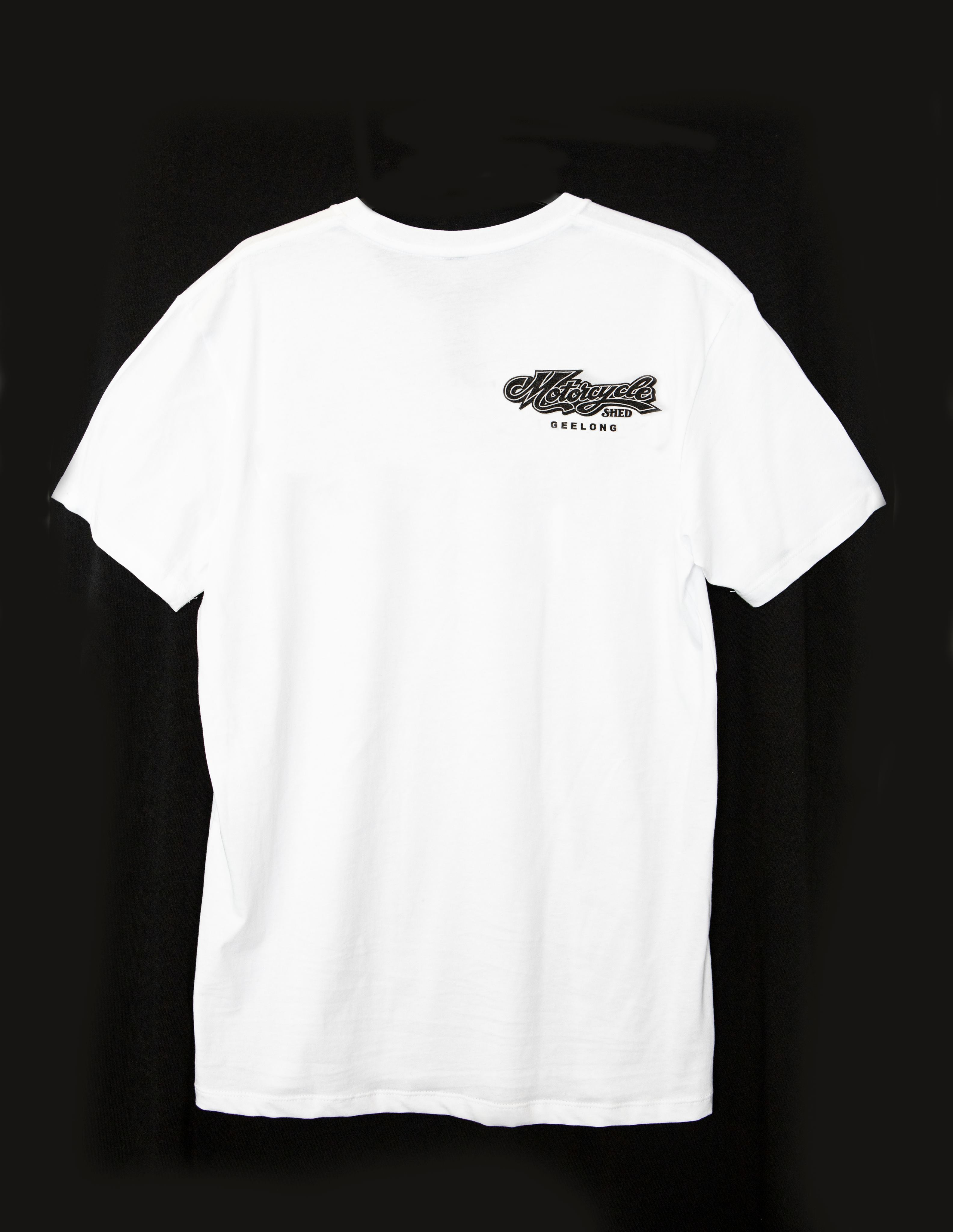 Motorcycle Shed 100% Cotton Tee - White 8