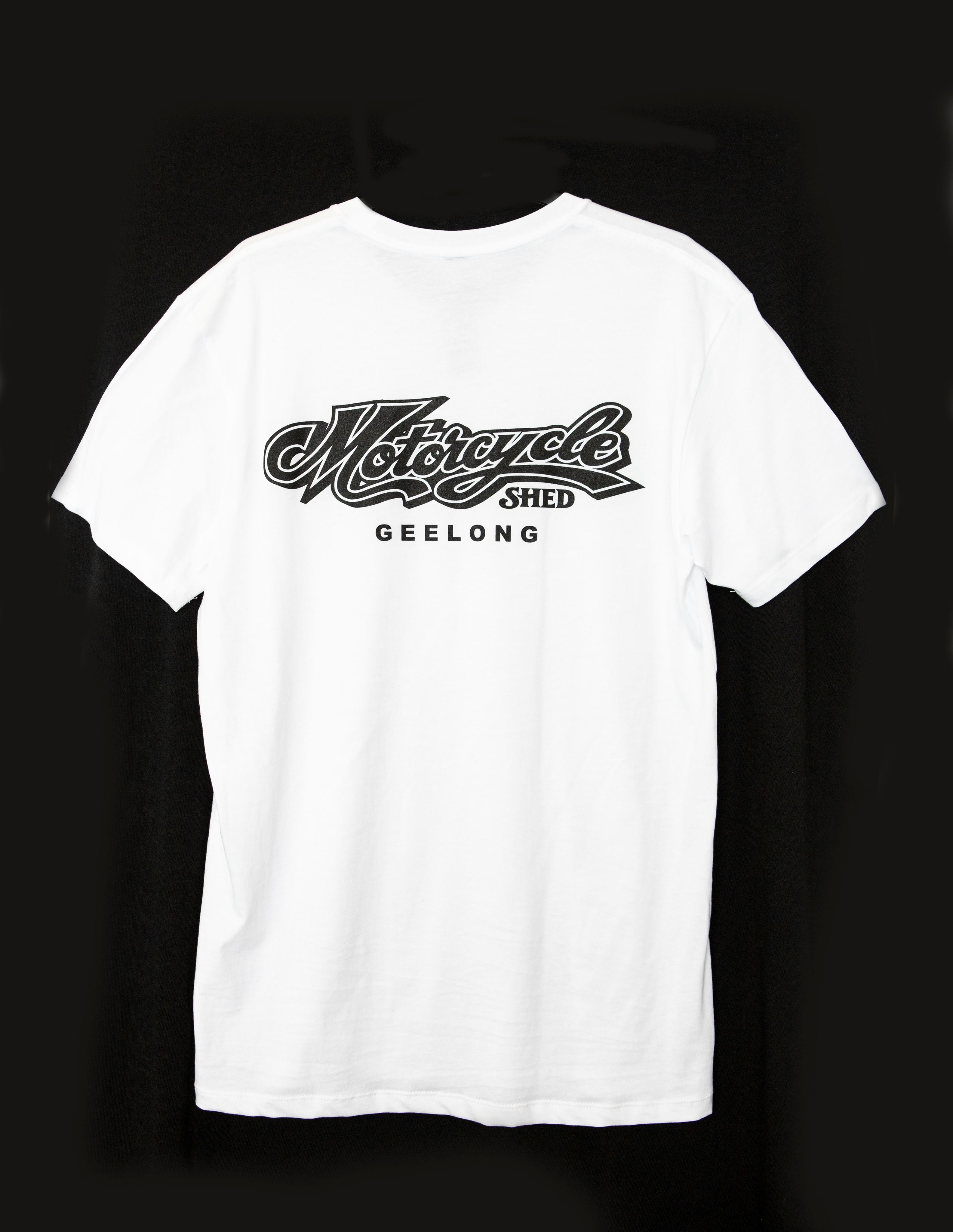 Motorcycle Shed 100% Cotton Tee - White