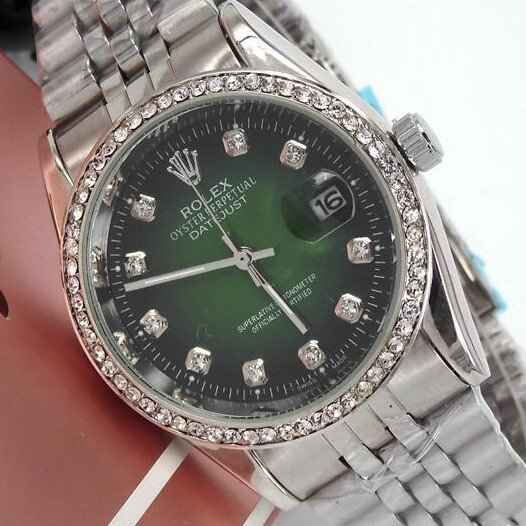 Replica Rolex Datejust White Dial Silver Case, Green Face , Quartz