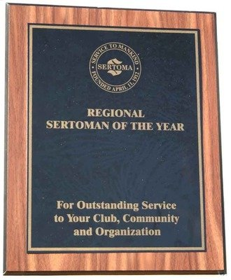 Region Sertoman of the Year Plaque