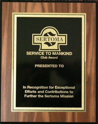 Club Service to Mankind Plaque