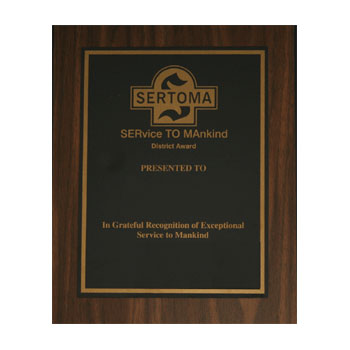 District Service to Mankind Plaque
