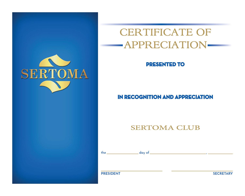Certificate of Appreciation w/Pres&Sec Signature 1125