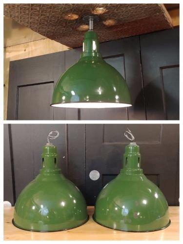 Vtg Green Deep Bowl Porcelain Enamel Light Fixture 17