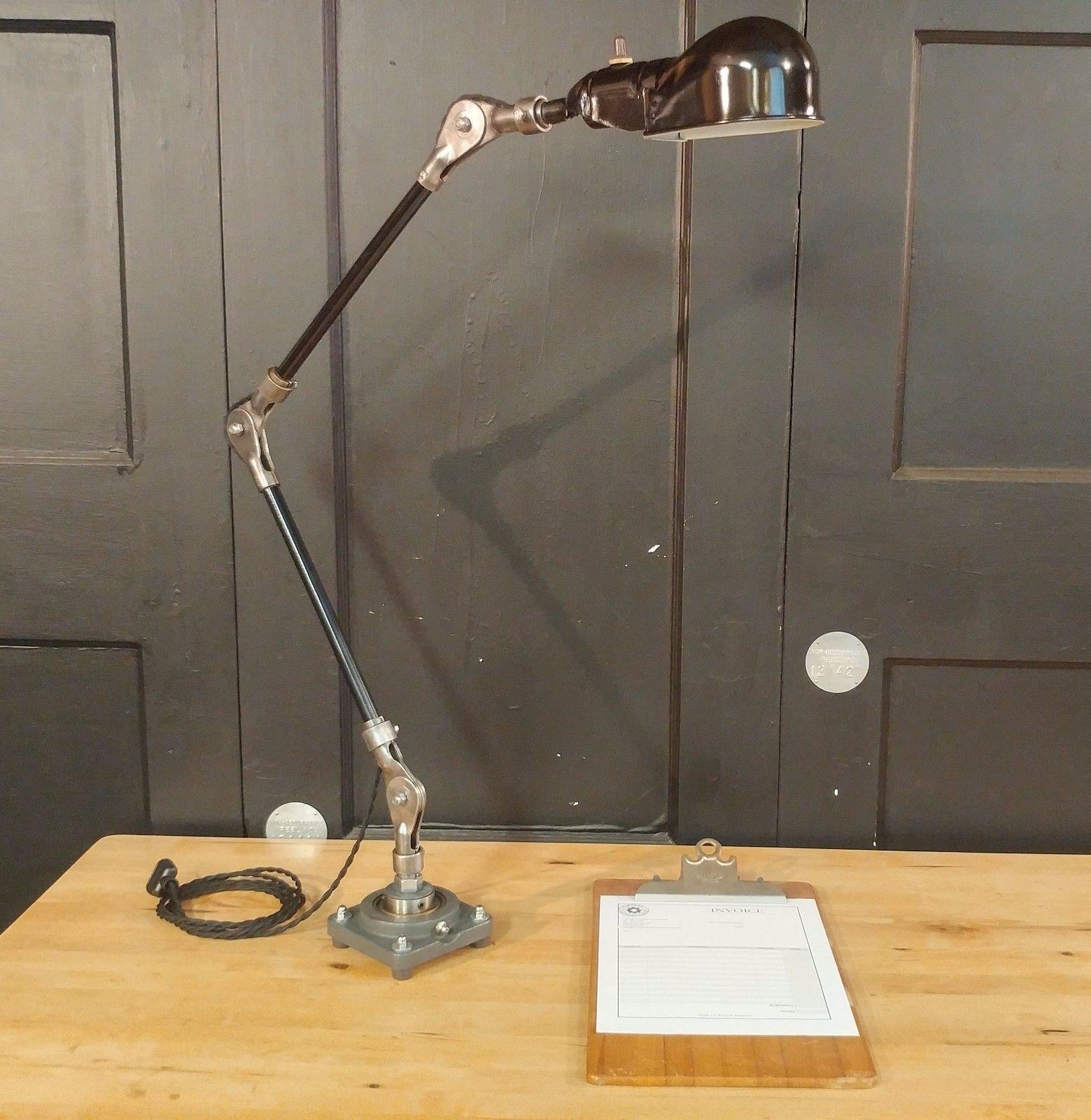 302383762976 VTG Steampunk Desk Lamp   Industrial Articulating Table Task  Light