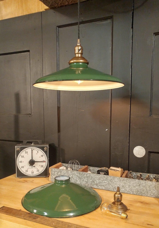Vintage Green Porcelain Enamel Pendant Light Fixture 16 Brass Paddle Socket