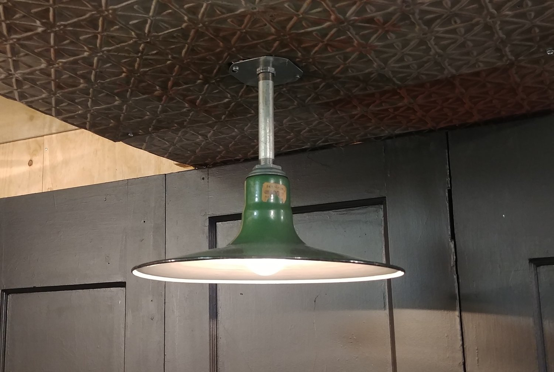 Vtg Benjamin Green Porcelain Enamel Barn Light Fixture 14 Industrial