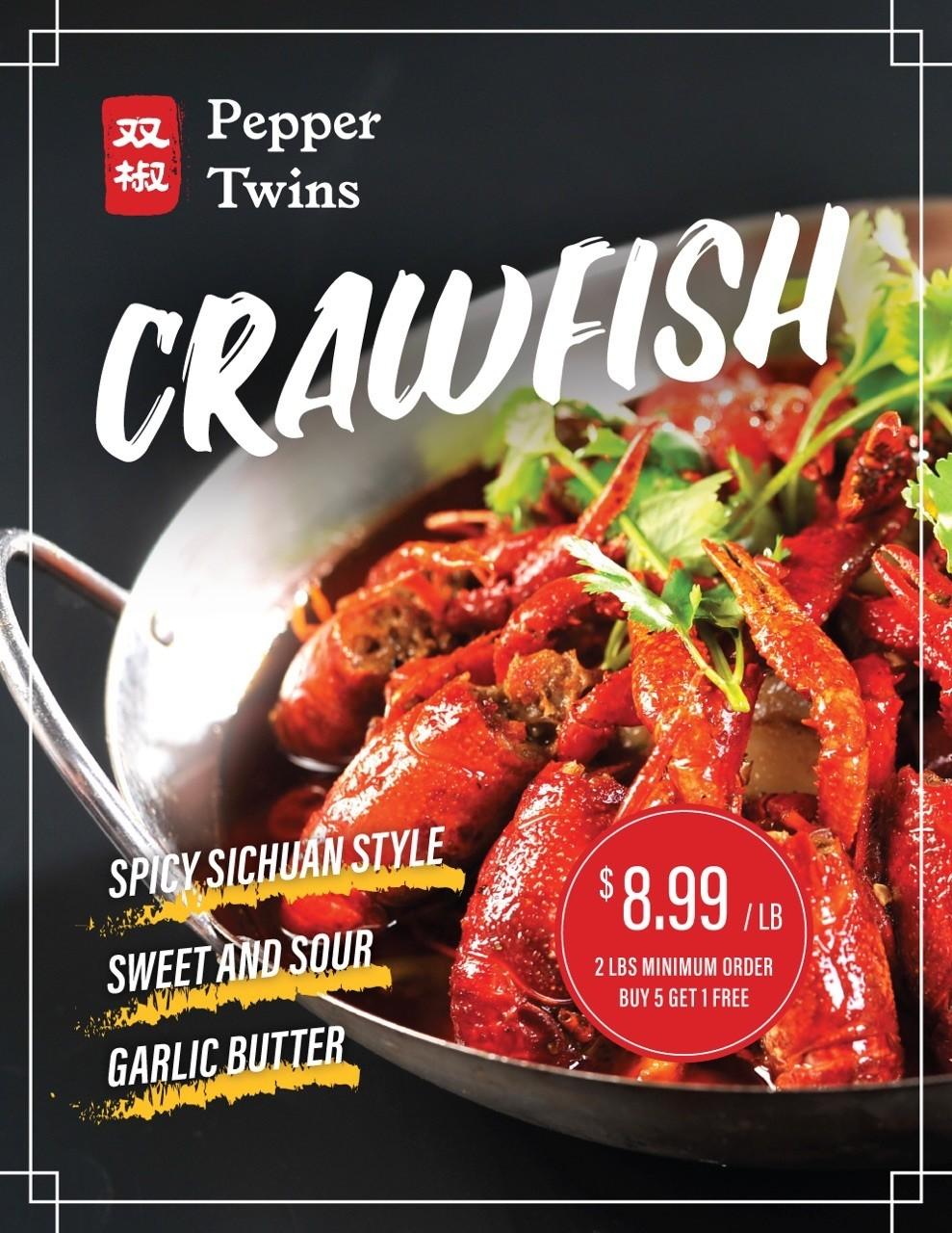 SJ【双椒专供】麻辣/蒜香/鱼香小龙虾 Spicy Crawfish  (周一休息)