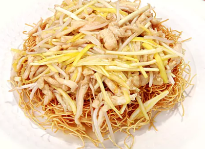DHHX【东海海鲜】韭黄鸡丝煎面 Fried Crispy Noodle with Chicken & Chive