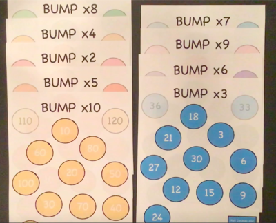 Bump Multiplication Game Board and Rules