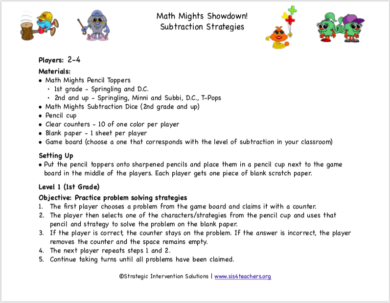 Math Mights Showdown! Subtraction