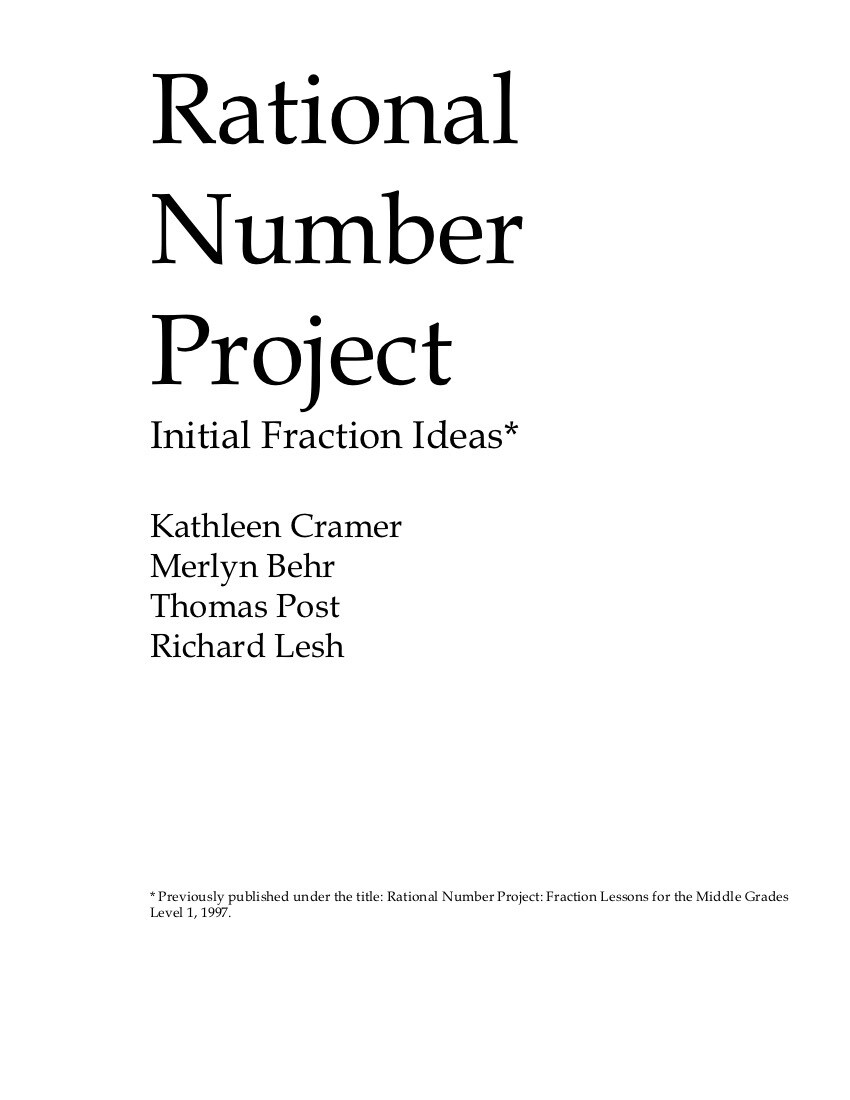 Rational Number Project - Fractions