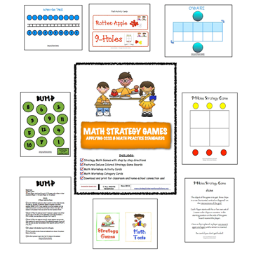 Math Strategy Games: Incorporating CCSS 8 Math Practices (Digital Download)