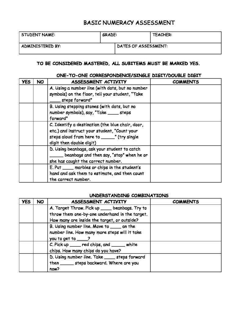 Basic Numeracy Assessment 00016