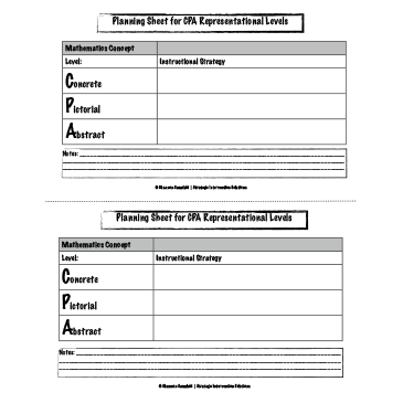 Planning Sheet for CPA Representational Levels