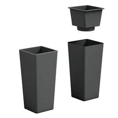Vaso Quadrato Clou moderno h 65, 85 cm con inserto estraibile