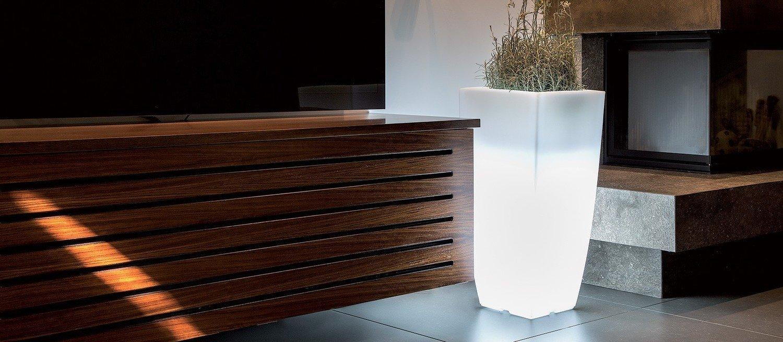 Vaso Quadrato Stilo luce luminoso 39x39 x h 90 cm