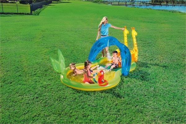 Playground piscina gonfiabile Zoo 338x160x h 129 cm con giochi