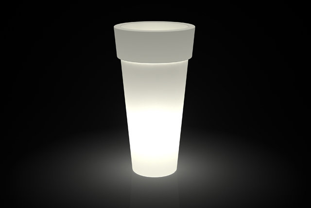 Vaso Tondo bordato Arno luminoso Batteria LED RGB Multicolor in resina h 43/70/92/105 cm