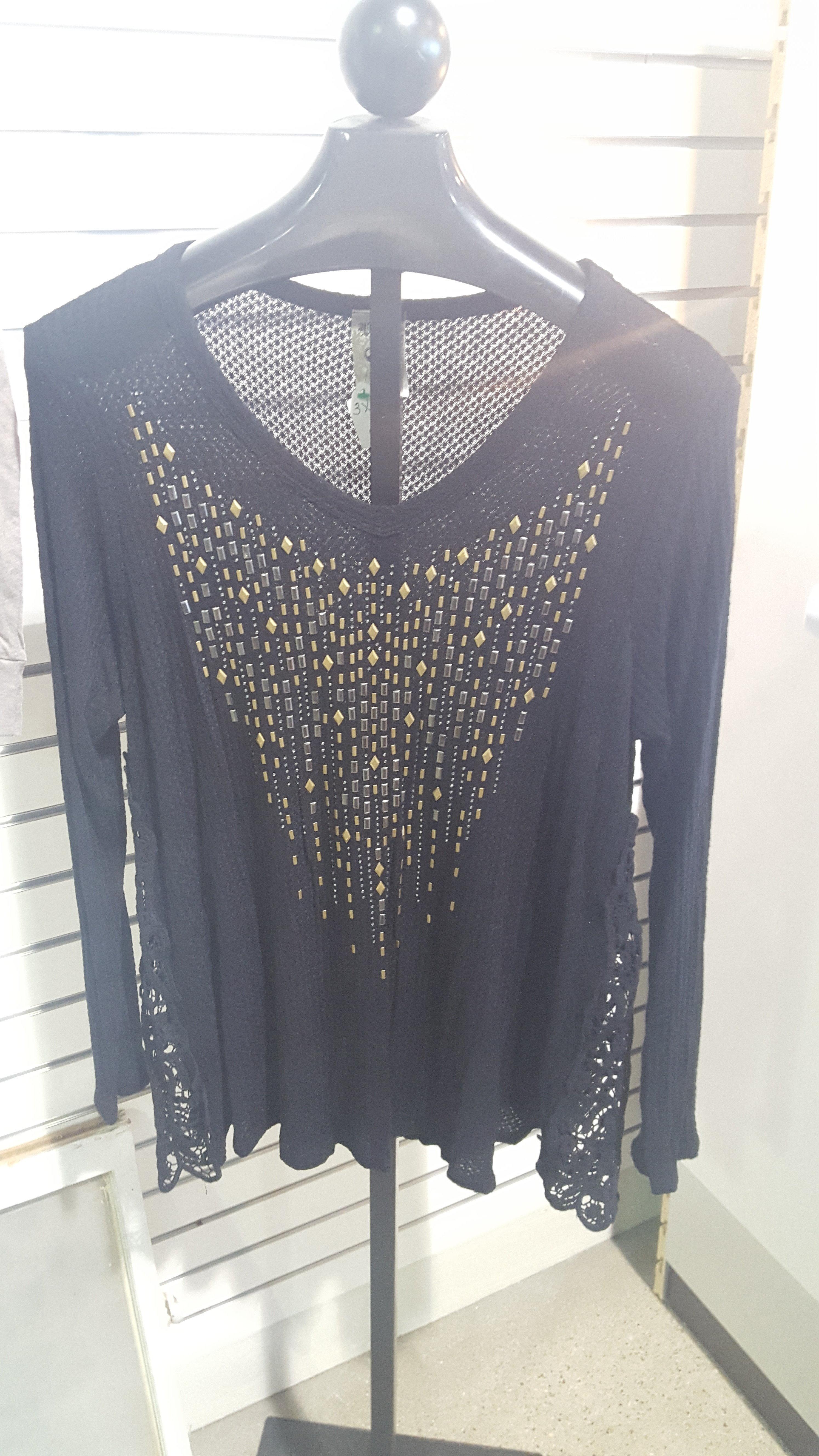 Vocal Black Shirt Plus Size 1W30ZGGRSD81T