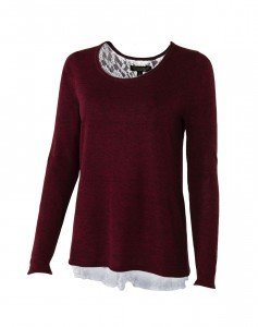 Noble Tory Lace Sweater Medium Cranberry DRS22B3CP11ZJ