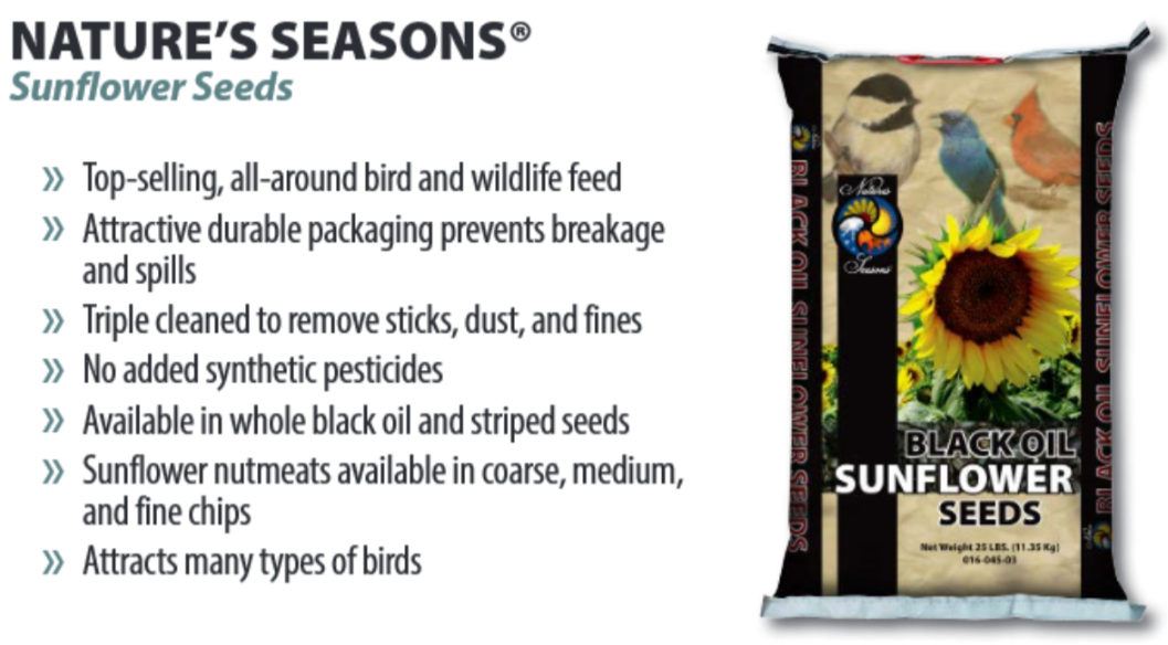 Wild Bird Food Black Sunflower Seeds 50lb 016-036-03