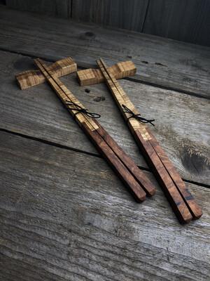 Ironwood Burl And Curly Maple Chopstick
