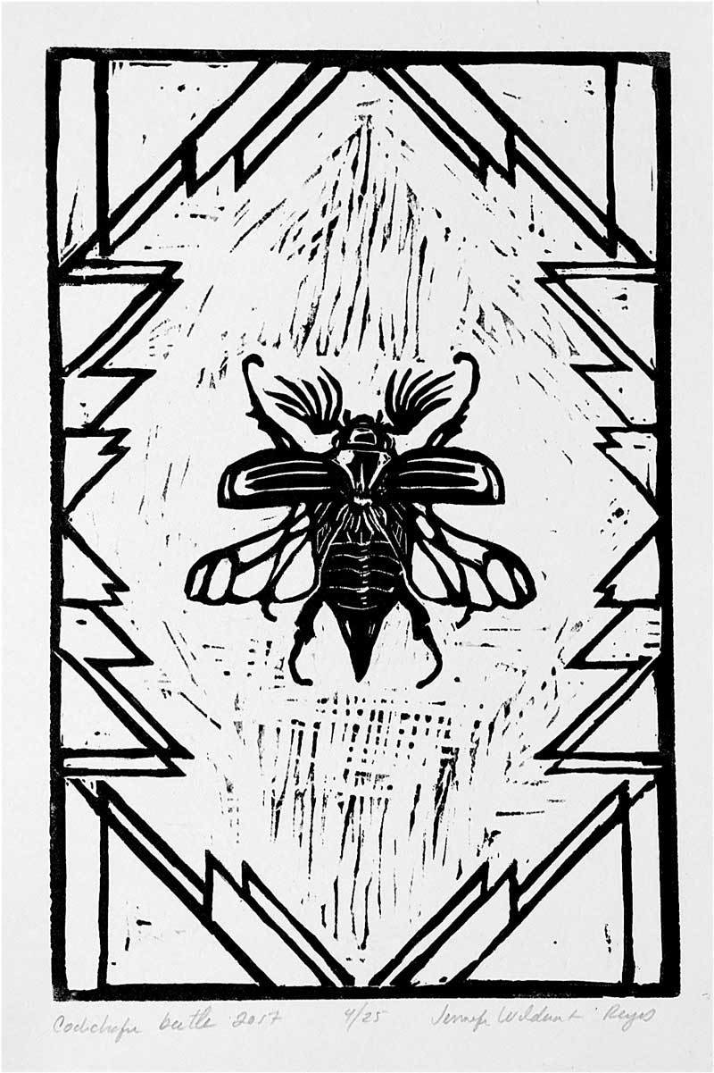Cockchafer Beetle linocut print