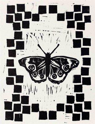 Buckeye butterfly linocut print.