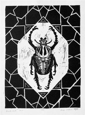 Goliath beetle linocut print