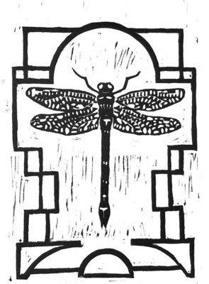 Dragonfly linocut print