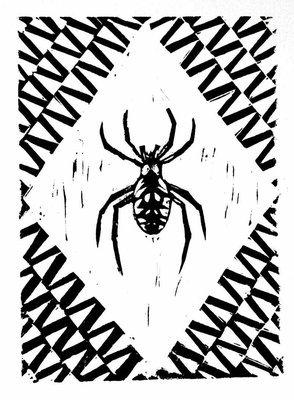 Garden Spider linocut print
