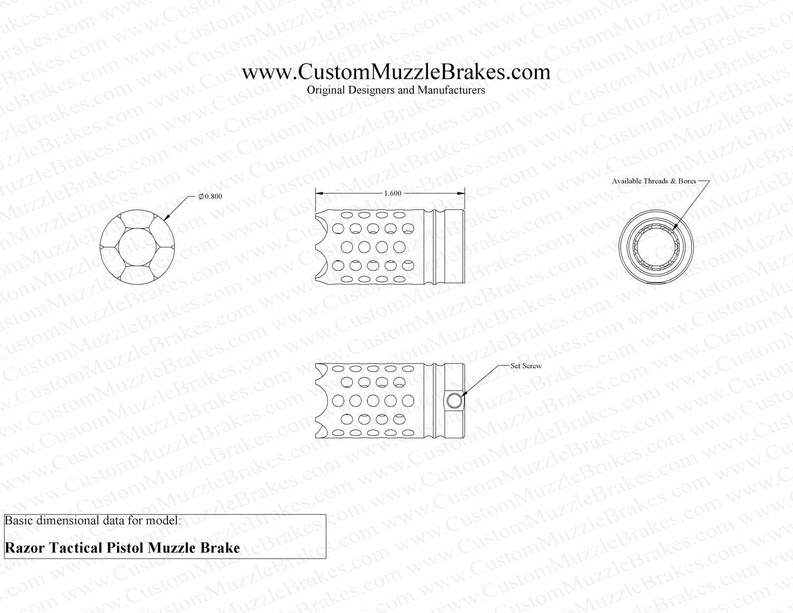 Razor Tactical Pistol Muzzle Brake - Authentic Original Manufacturer
