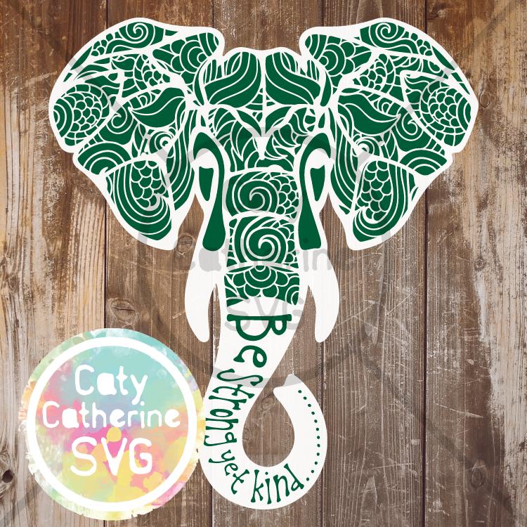 Be Strong Yet Kind Zentangle Elephant SVG CATYCATHERINE0000143