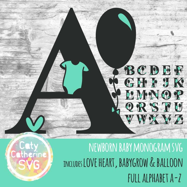 Full Alphabet A-Z Newborn Baby Monogram SVG Includes Love Heart, BabyGrow & Balloon CATYCATHERINE0000144