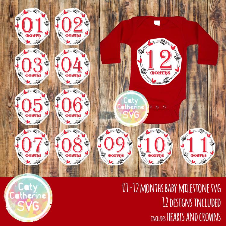 Hearts & Crowns 01-12 Months Baby Milestone SVG CATYCATHERINE0000147