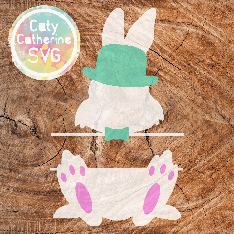 Easter Bunny Split Monogram SVG Cut File Bowler Hat & Bow Tie CATYCATHERINE0000177-02