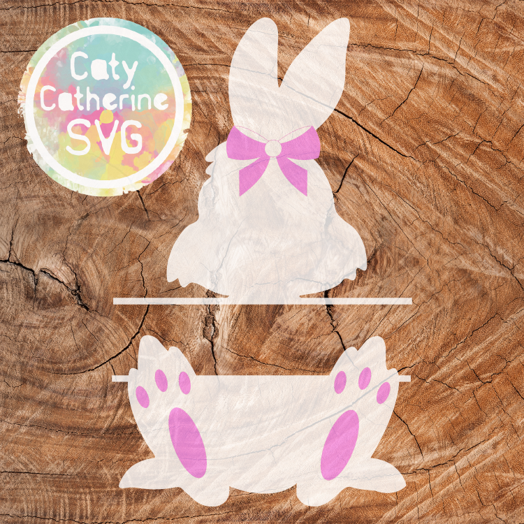 Easter Bunny Split Monogram SVG Cut File with Bow Detail CATYCATHERINE0000177-03