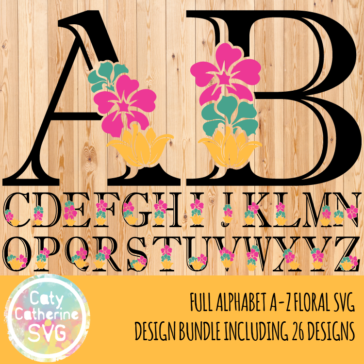 Full Alphabet A-Z Floral Letter Initial SVG Cut File CATYCATHERINE0000181